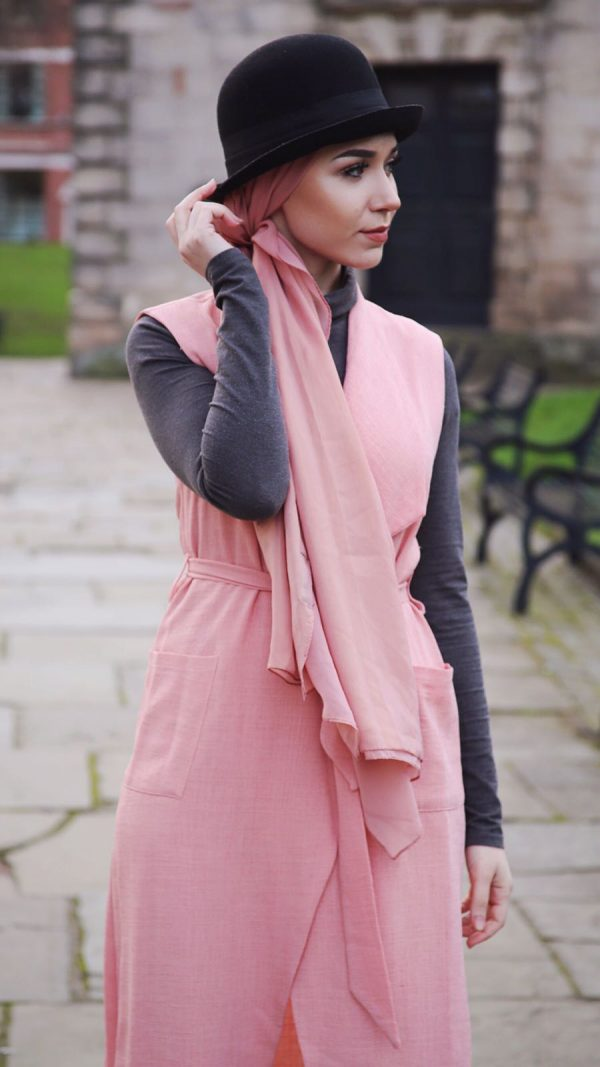 Pink waterfall coat