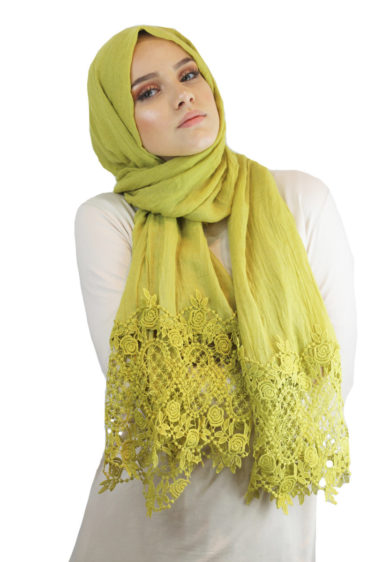 Lime Green Dantel Rose Hijab