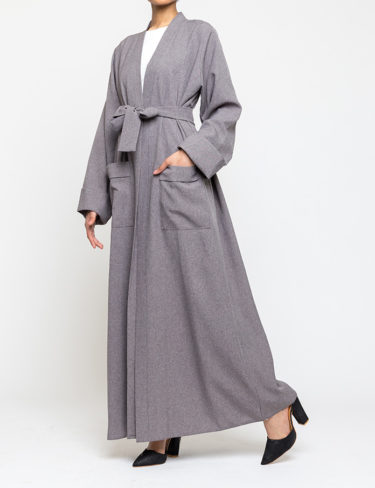 Grey tweed effect abaya/kimino