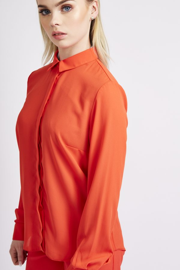 Hot Red collar blouse