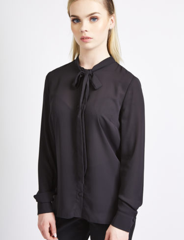 Black tie neck blouse