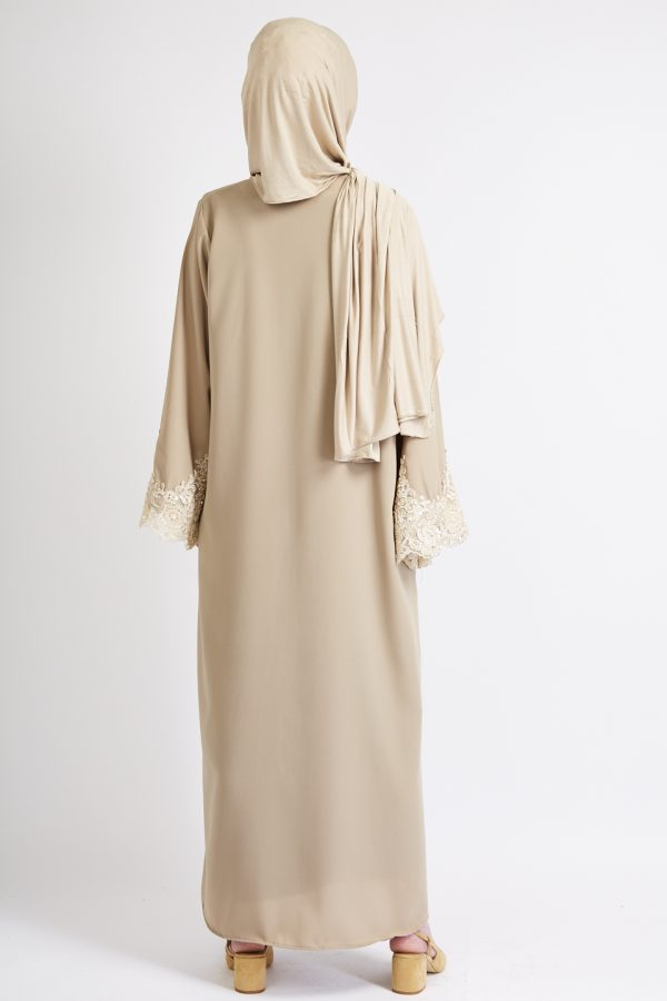 Sand abaya/kimino with beige embroidered lace