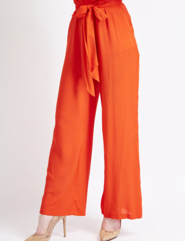 Hot Red ruffle tie waist long leg trousers