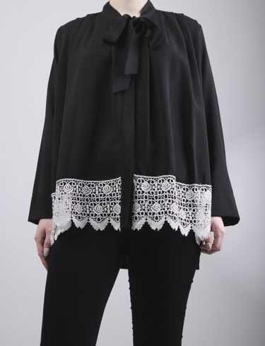 Black Pleated Shoulder Loose Fit Blouse
