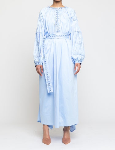 Midi Sky Blue Embroidered Dress