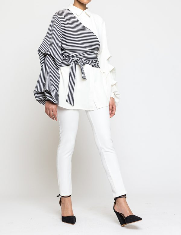 Zebra Cross Blouse With Front Wrap Strap