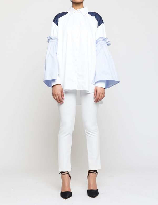 White Shirt With Pleated Blue Sleeves