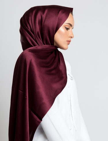Burgundy Soft Satin Silk Hijab
