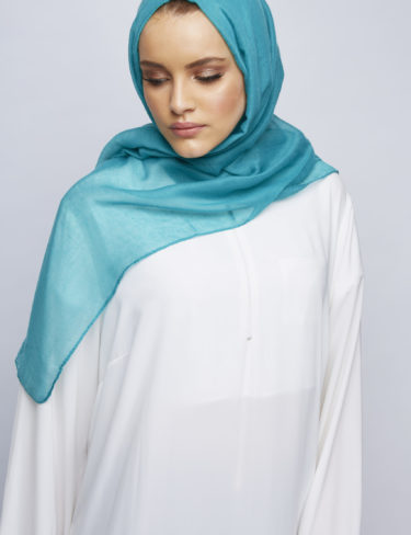 Teal Blue Plain Maxi Hijab