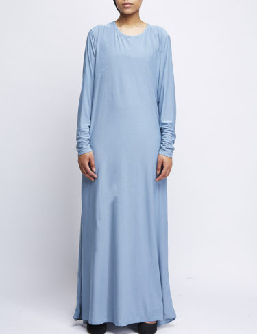 Pale Blue Jersey Casual Plain Abaya