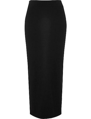 Black Tube Jersey Maxi Skirt