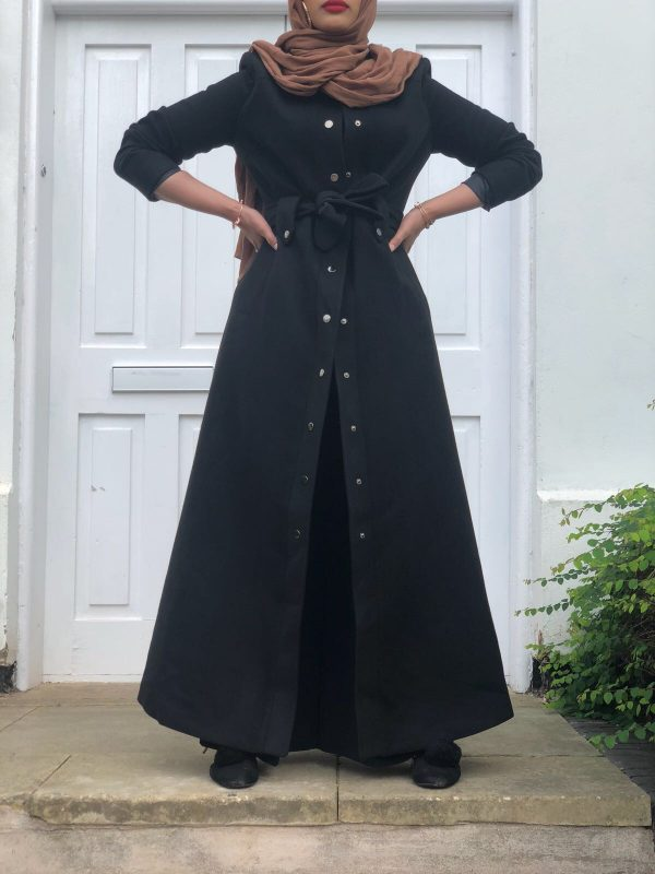Black Silver Front Button Jacket