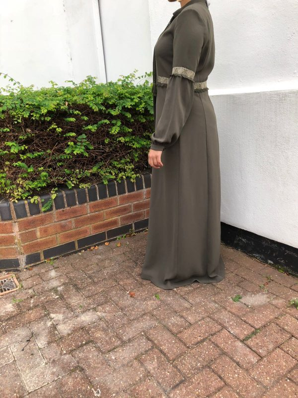 Tree Green Frayed Trims Abaya