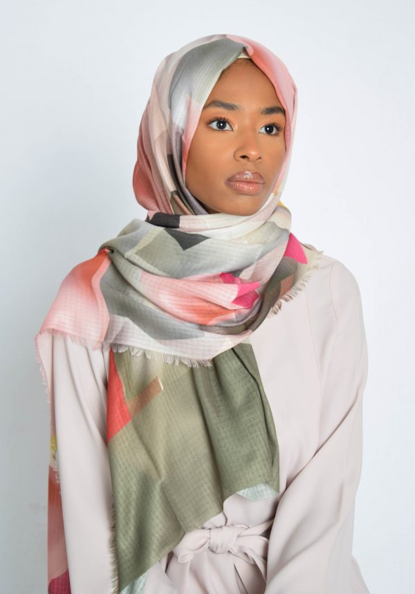 Olive With Coloured Diagonal Print Hijab