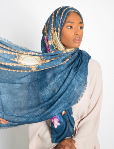 Blueberry Floral With Chain Print Hijab