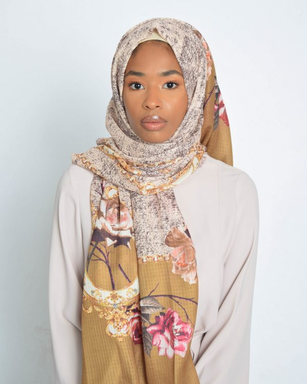 Light Olive Floral With Chain Print Hijab