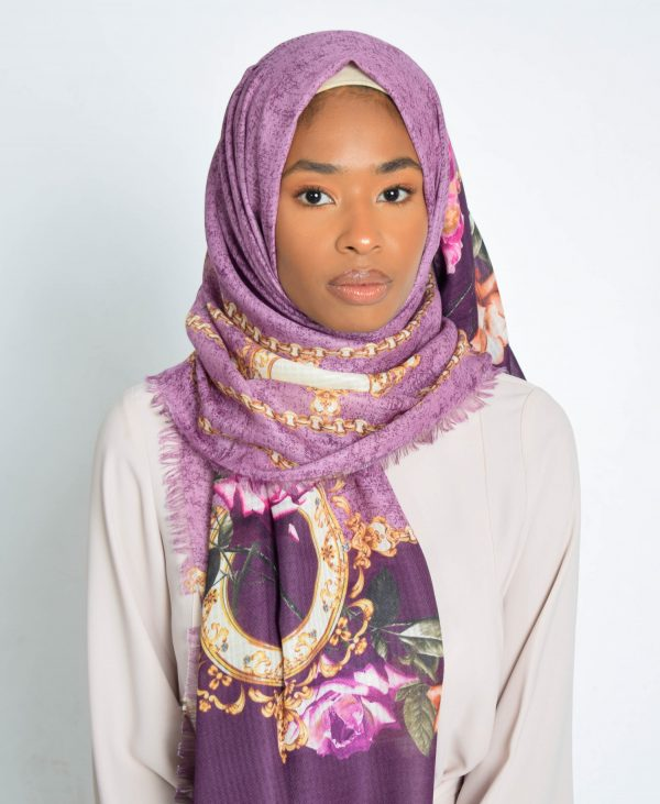 Purple Floral With Chain Printed Hijab