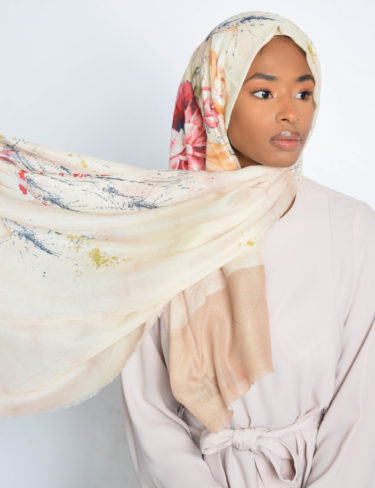 Warm Paint Splash Colours Hijab (Cream)