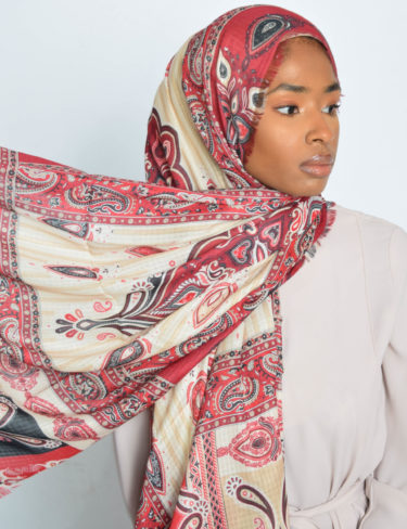 Red Paisley Hijab