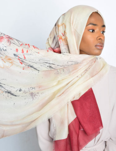 Warm Paint Splash Colours Hijab (Red)