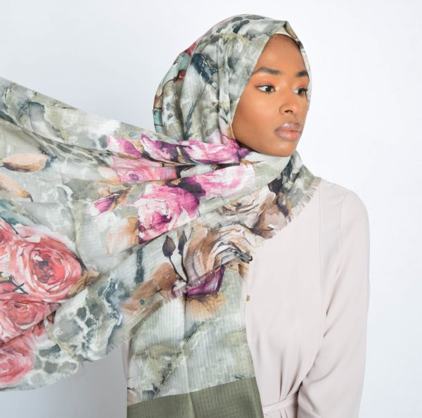 Olive Floral Water Paint Print Hijab