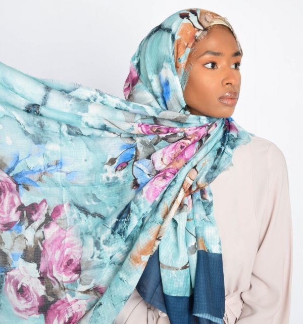 Turquoise Floral Water Paint Print Hijab