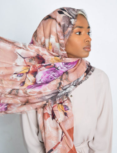 Burnt Orange Floral Water Paint Print Hijab