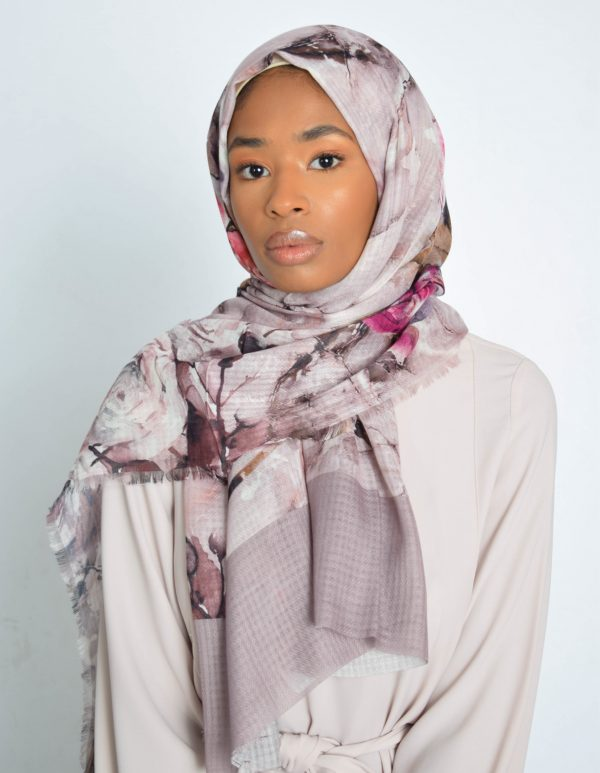 Dusted Fondant Floral Water Paint Print Hijab