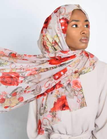 Red Rose Floral Print Hijab