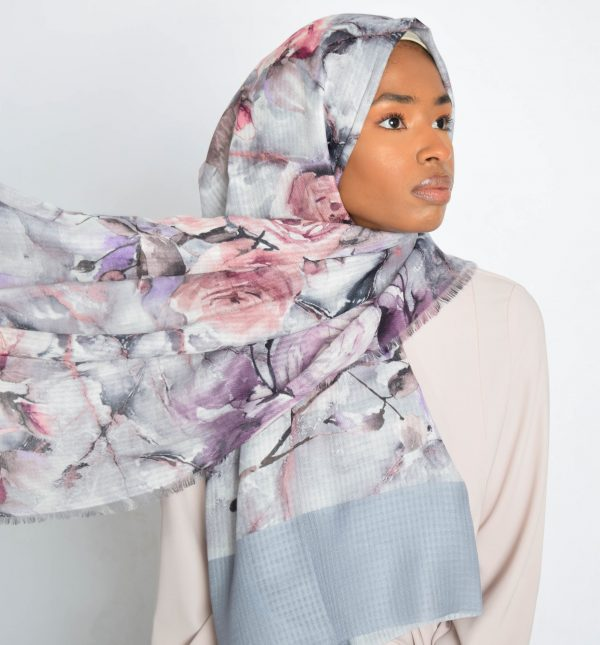 Grey Floral Water Paint Print Hijab