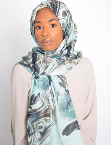 Sea Blue Print Hijab