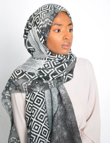 Grey and Black Print Hijab