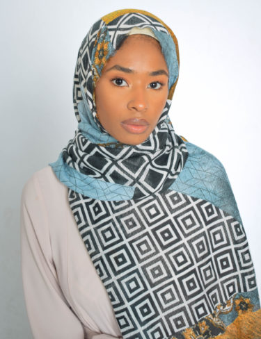 Mustard and Sky Blue Print Hijab