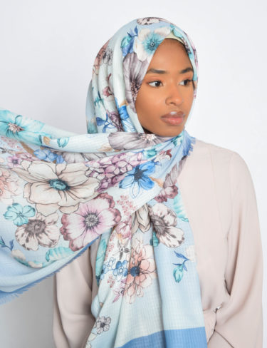 Light Blue Daisy Print Hijab