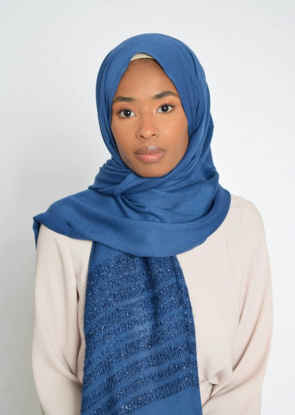 Royal Blue Striped Shimmer Hijab