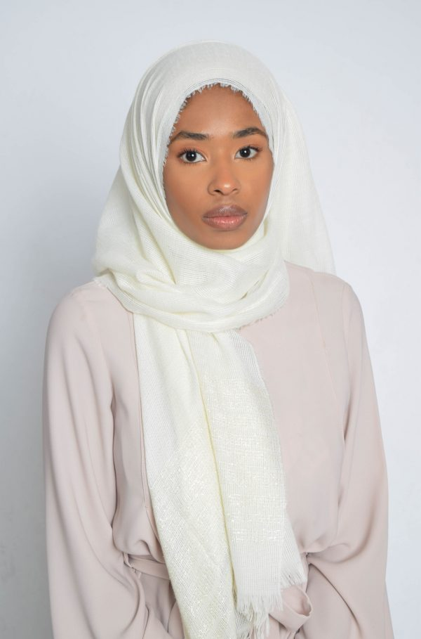 Off White Striped Shimmer Hijab