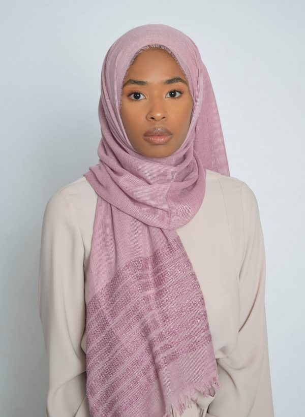 Soft Berry Striped Shimmer Hijab