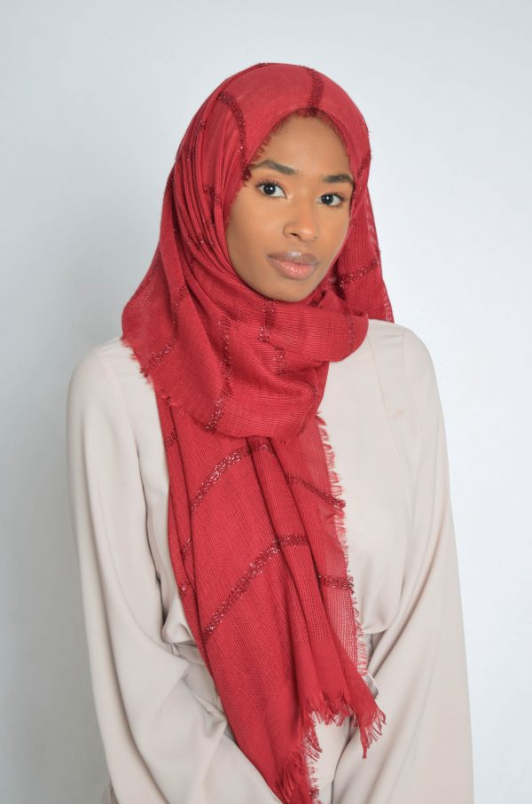 Raspberry Hijab With Shimmer Lines