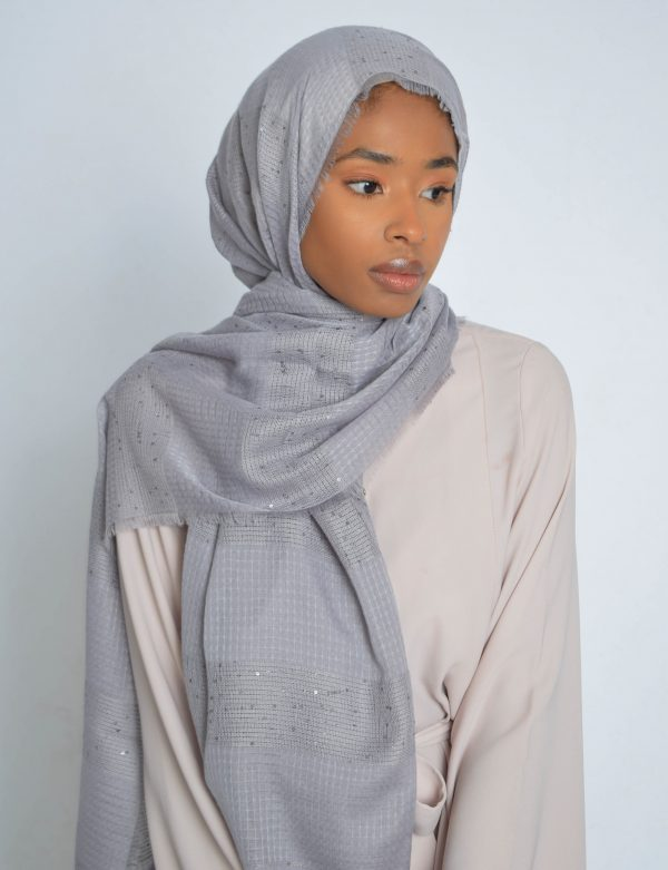 Grey Sequin Hijab