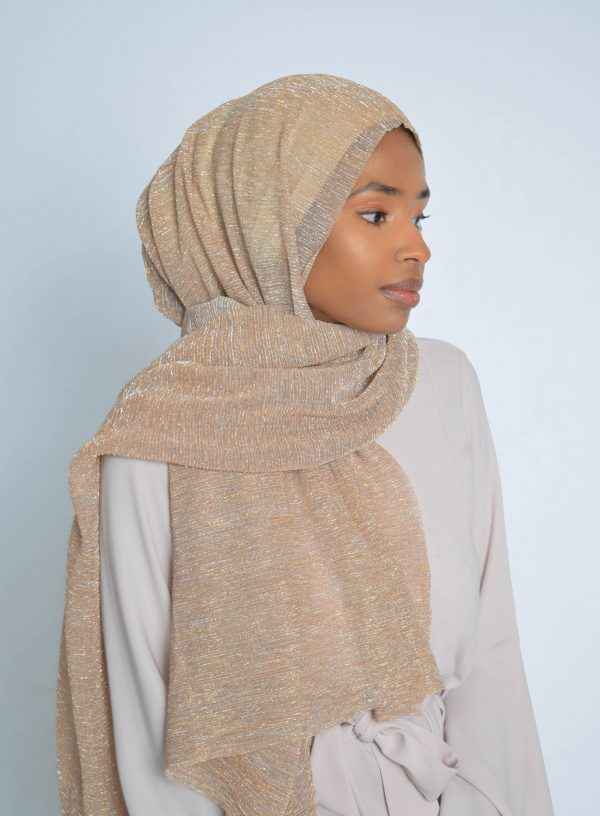 Neighborly Peach and Gold Shimmer Hijab