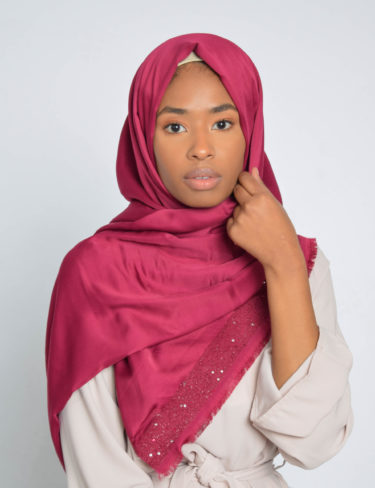 Raspberry Sequin Edge Satin Hijab