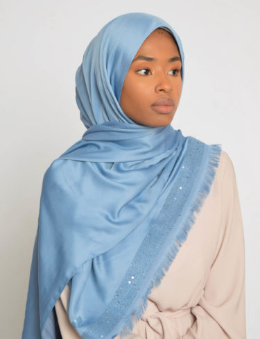 Carolina Blue Sequin Edge Satin Hijab