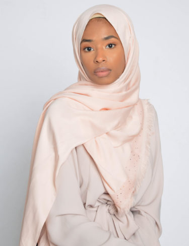 Pale Peach Sequin Edge Satin Hijab