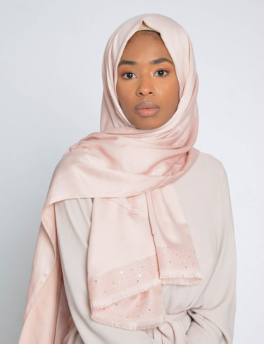 Pearl Blush Sequin Edge Satin Hijab