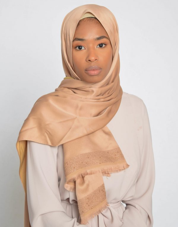 Medium Bronze Sequin Edge Satin Hijab
