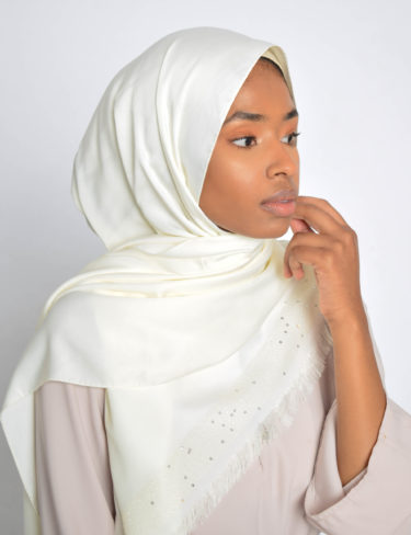 Vanilla Sequin Edge Satin Hijab