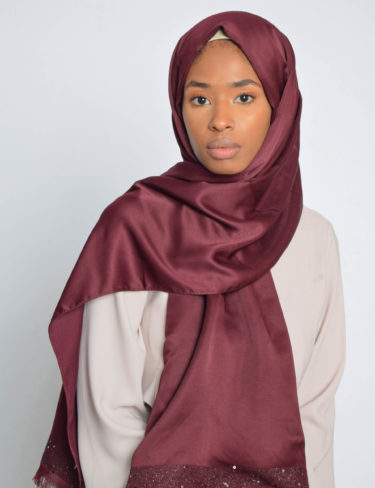 Burgundy Sequin Edge Satin Hijab
