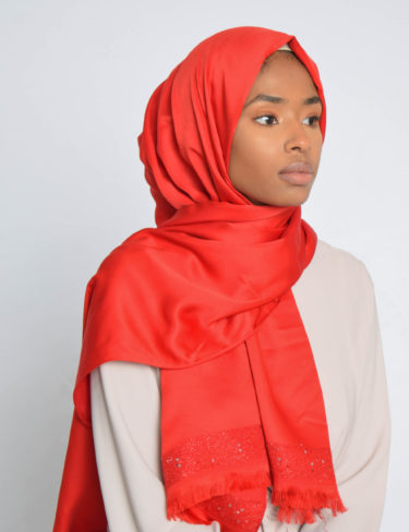 Red Sequin Edge Satin Hijab