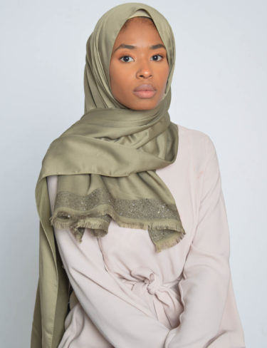 Pale Moss Sequin Edge Satin Hijab