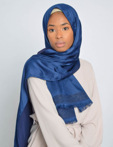 Blue Edge Sequin Satin Hijab